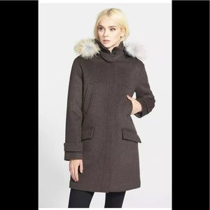 Soia & Kyo Wool Coat with Removable Racoon…